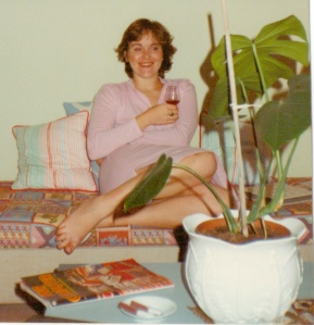 80s textiles with plant