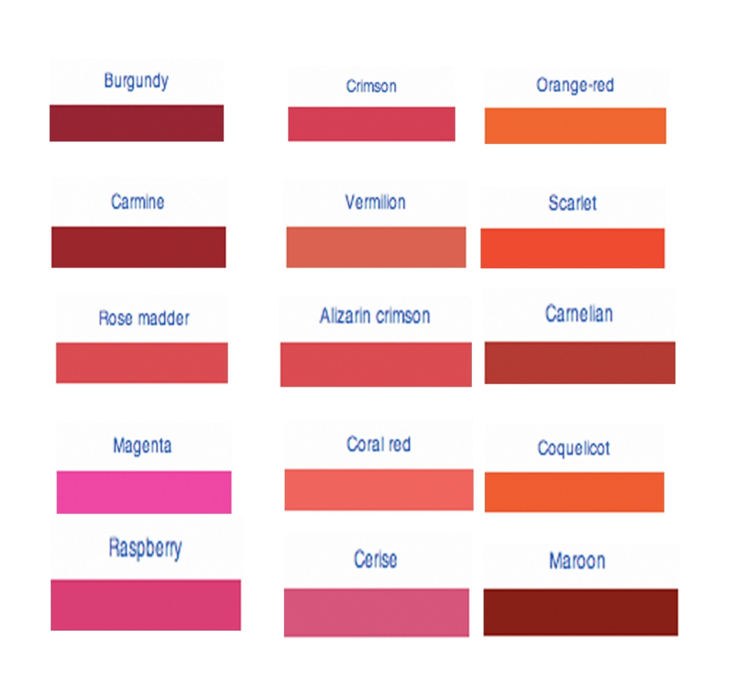 What s your favourite red life and art Shades of orange colour chart